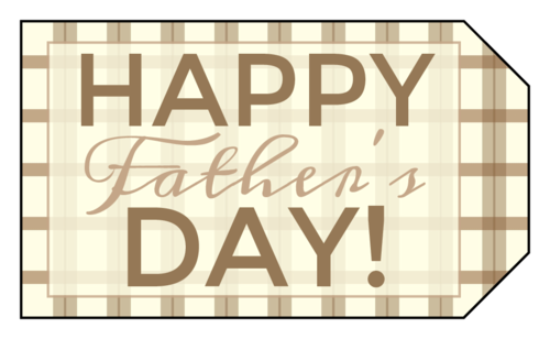 "OL1763 - 1.75"" x 3"" - Brown Plaid Father's Day Gift Tags"
