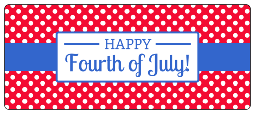 "OL5925 - 7"" x 3"" - Polka Dot Fourth of July Water Bottle Labels"