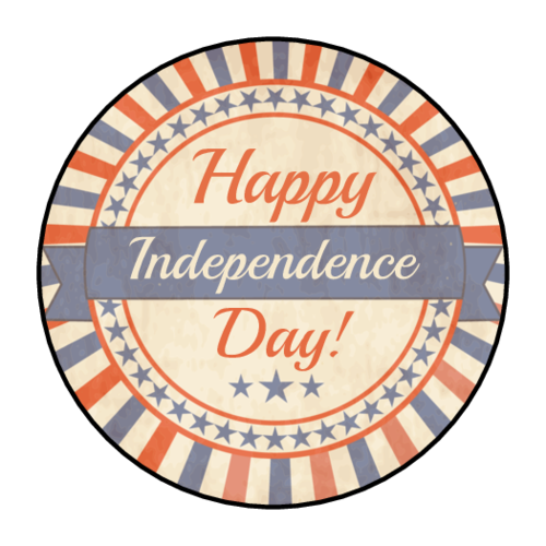"OL2088 - 1.5"" Circle - ""Happy Independence Day!"" Circle Labels"