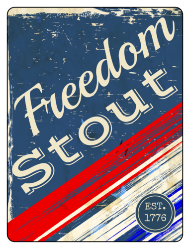 """Freedom Stout"" Fourth of July Beer Bottle Label pre-designed label template for OL500"