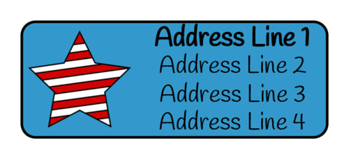 "OL385 - 1.75"" x 0.666"" - Striped Star Fourth of July Address Label"