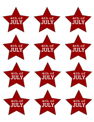 "OL195 - 2.3758"" x 2.2601"" - Fourth of July Star Labels"