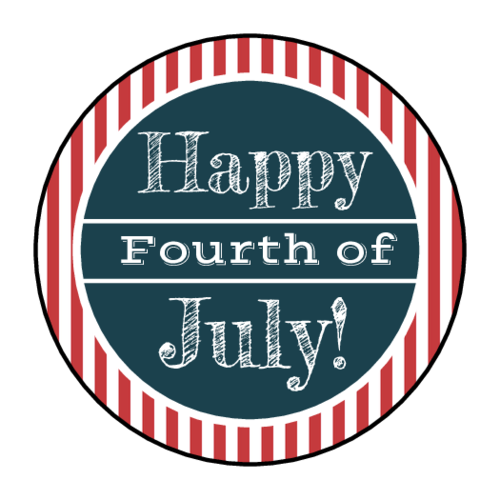 "OL2088 - 1.5"" Circle - Striped Fourth of July Circle Labels"