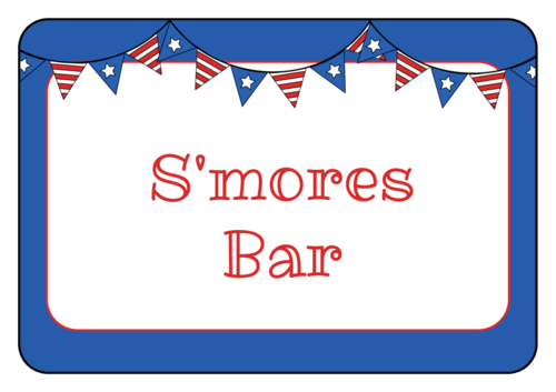 Stars and Stripes Banner Snack Labels pre-designed label template for OL5030