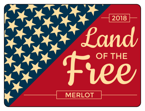 """Land of the Free"" Fourth of July Wine Bottle Labels pre-designed label template for OL500"