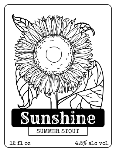ol500 4 x 3 sunflower beer bottle label