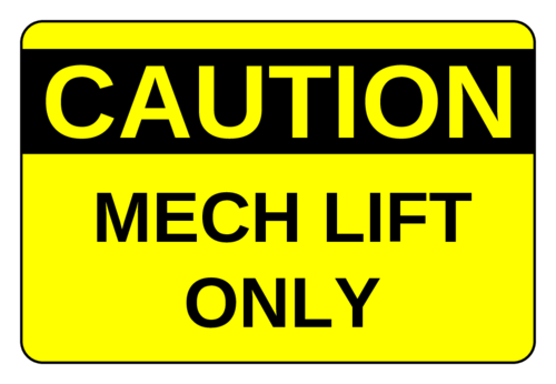 "OL996 - 3"" x 2"" - Mech Lift Labels"