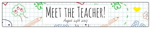 """Meet the Teacher!"" Water Bottle Labels pre-designed label template for OL435"