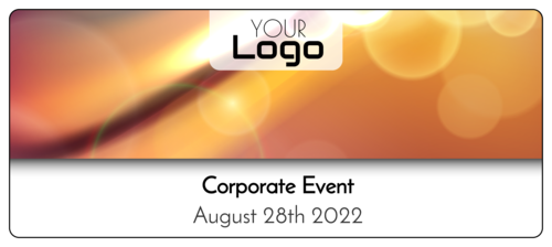 Bokeh water bottle label template for corporate events and conferences
