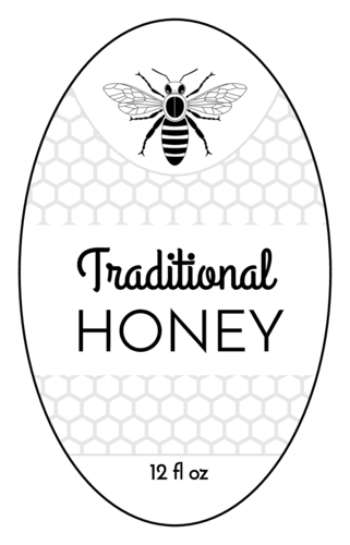 Oval Honey Bottle Label (Oval)