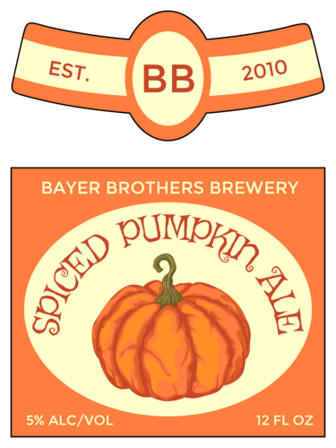 "OL3078 - 3.4999"" x 2.9999"" Beer - ""Spiced Pumpkin Ale"" Beer Bottle Label"