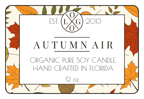Fall Leaves Candle Jar Label pre-designed label template for OL996