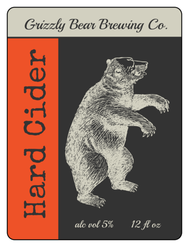 Grizzly Bear Hard Cider Label (Round Corner Rectangle)