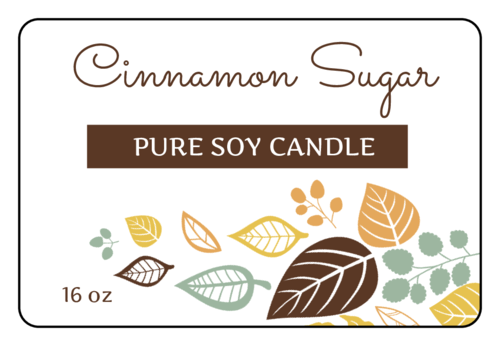 Cinnamon sugar candle label.