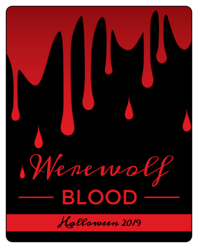 """Werewolf Blood"" wine bottle label template for Halloween"