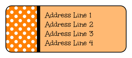 Free orange polka dot address label template for Fall/Halloween
