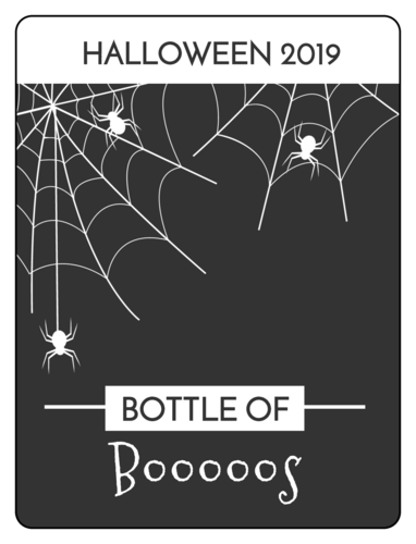 """Bottle of Boos"" punny wine bottle label for Halloween"