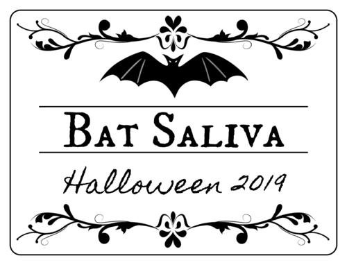 Halloween-themed bottle label, bat saliva flavored
