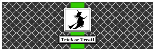 Water bottle label template for Halloween with a witch on a broomstick