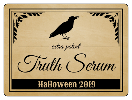 """Truth Serum"" wine bottle label template for Halloween"
