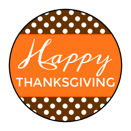 "OL2088 - 1.5"" Circle - ""Happy Thanksgiving"" Circle Labels"