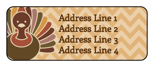 "OL875 - 2.625"" x 1"" - Thanksgiving Turkey Address Labels"