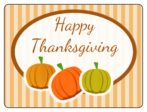Thanksgiving/Autumn/Fall Label Template: Happy Thanksgiving