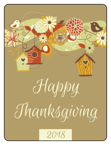 "OL500 - 4"" x 3"" - Bird House Thanksgiving Wine Bottle Labels"