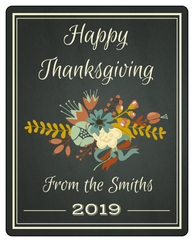 "OL162 - 3.75"" x 4.75"" - Floral Thanksgiving Wine Bottle Labels"