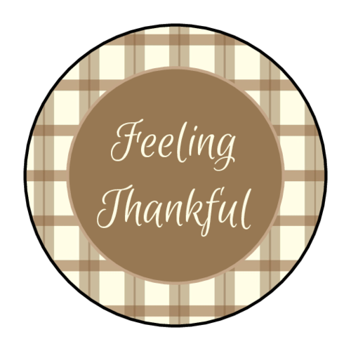 """Feeling Thankful"" Circle Labels pre-designed label template for OL2088"