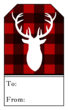 Plaid Stag Gift Tag Labels