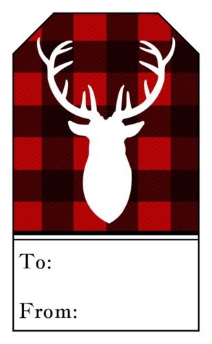 "OL1763 - 1.75"" x 3"" - Plaid Stag Gift Tag Labels"
