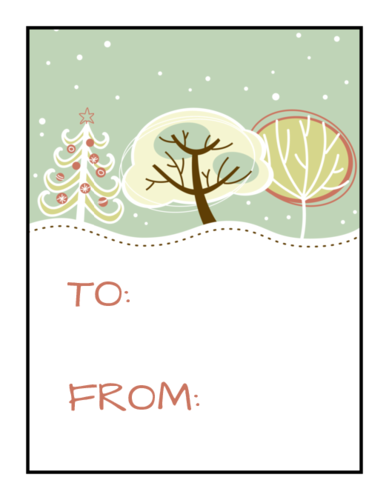 Frosty Gift Tag Labels (Square Corner Rectangle)