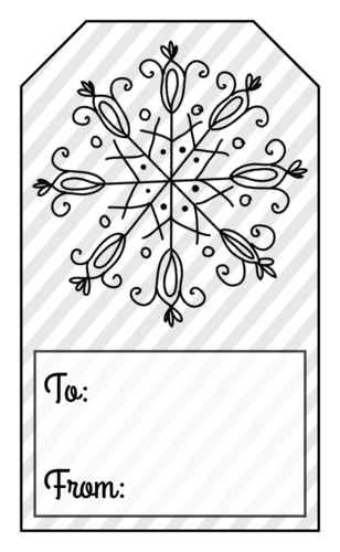 Snowflake Gift Tag Labels pre-designed label template for OL1763