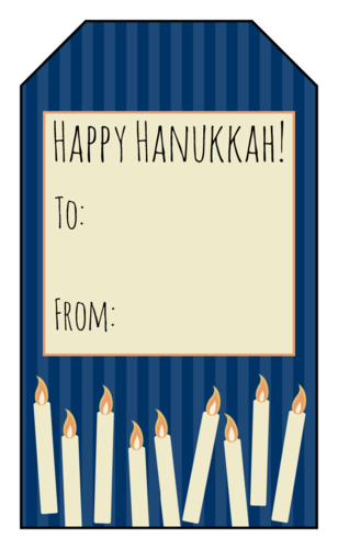 Happy Hanukkah gift tag with 9 lit candles and room to address who the gift is to/from