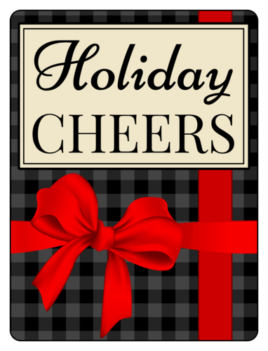 """Holiday Cheers"" Beer Bottle Labels pre-designed label template for OL500"