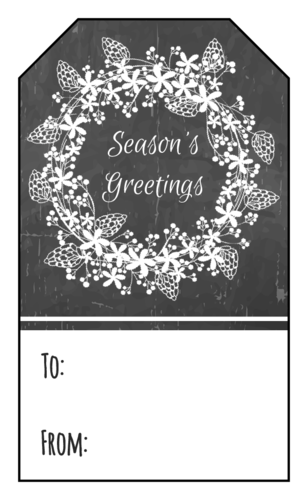Black and white gift tag with wreath and Seasons Greetings