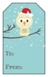 Christmas Owl Gift Tag Labels