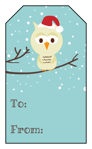 Christmas Owl Gift Tag Labels pre-designed label template for OL1763