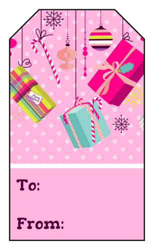 "OL1763 - 1.75"" x 3"" - Pink Christmas Gift Tag Labels"