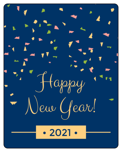 Wine bottle label for New Year's Eve with pink, green, and gold confetti popping on navy background
