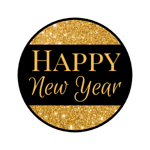 "OL5275 - 0.75"" Circle - ""Happy New Year"" Candy Labels"