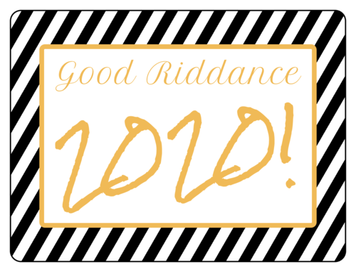 Champagne bottle label template with black stripes that reads Good Riddance [Year], in gold