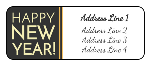 "OL875 - 2.625"" x 1"" - ""Happy New Year!"" Address Labels"
