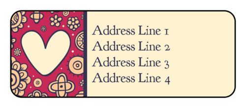 "OL875 - 2.625"" x 1"" - Floral Heart Address Labels"