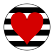 Striped Heart Circle Labels