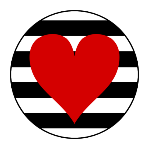 Striped Heart Circle Labels pre-designed label template for OL2088