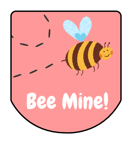 "OL3344 - 1.25"" x 1.375"" - ""Bee Mine!"" Valentine's Day Hand Sanitizer Labels"