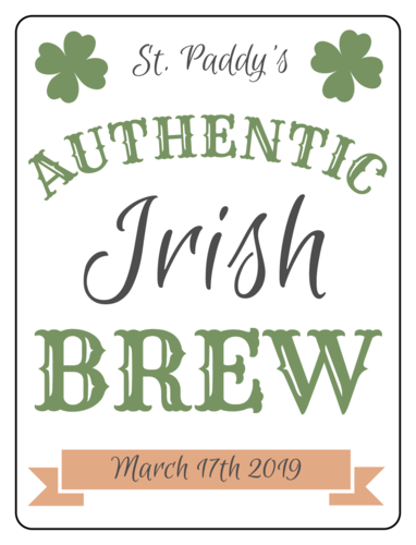 Beer bottle label template for the St. Patrick's Day - four leaf clover authentic Irish brew