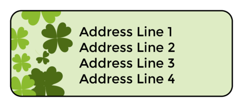 Green, four-leaf clover address/return address label template for St. Patrick's Day